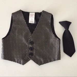 Vest and Clip on Tie 2 Piece Set